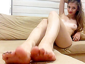 Simple Teen Shows Hooves Added to Her Elegant Shaved Pussy