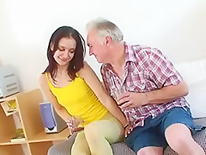 old man young girl - Shy girl together with old seducer