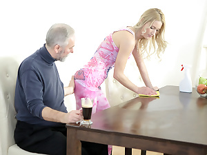 Old goes young guy makes Polina want him badly at the end of one's tether sucking her tits