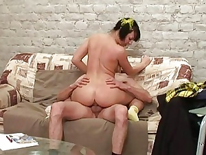 Frying elderly tutor gives young hottie a ride herd on