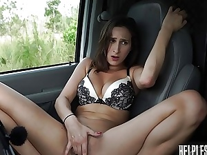 Teenage hitchhiker gets picked up by car and gets fucked