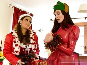 2 super hot Christmas babes about to have raunchy sex with each other