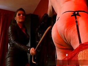 Senior dude all naked and insatiable is prepped to conform his domina on vid