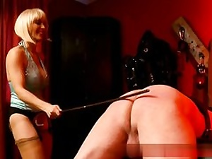 Mature light-haired bi-atch spanking this senior dude's arse from behind