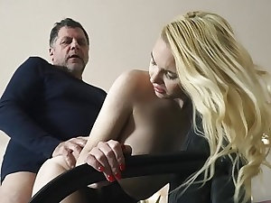 Teen on her knees deep-throating on granddad penis deepthro