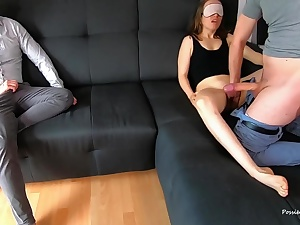 Cheating Hubby Witnesses His Young Wifey Creampied And Tongued His Jizm