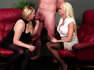 CFNM brit femdoms wank and sucks gimps bone