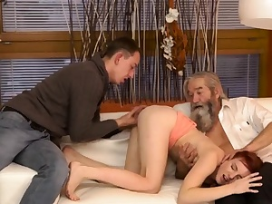 Hairy mature boss his parent came closer to her and