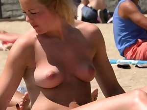 Amazing light-haired nymph Bare-chested Beach Hidden cam Public