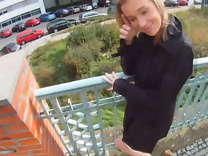 Shagging Glasses - Light-complexioned cutie tricked purchase open-air lovemaking